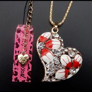 Betsey Johnson Flower Heart Necklace